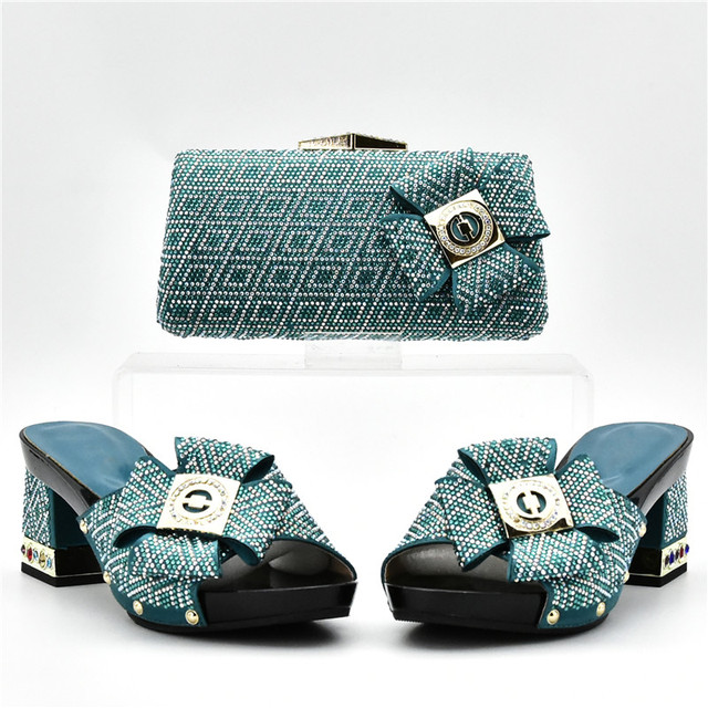 Italian Shoes with Matching Bags Set Decorated with Rhinestone Nigerian Women Wedding Shoe with Bag African Women Shoes Bags Set