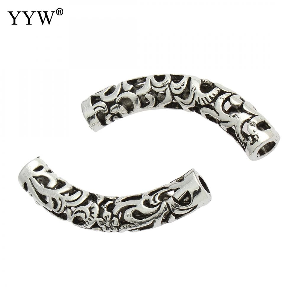 Zinc Alloy Tube Beads Silver Color Plated Hollow Lead & Cadmium Free Approx 6mm Sold By Pc Beads Beads & Jewelry Making