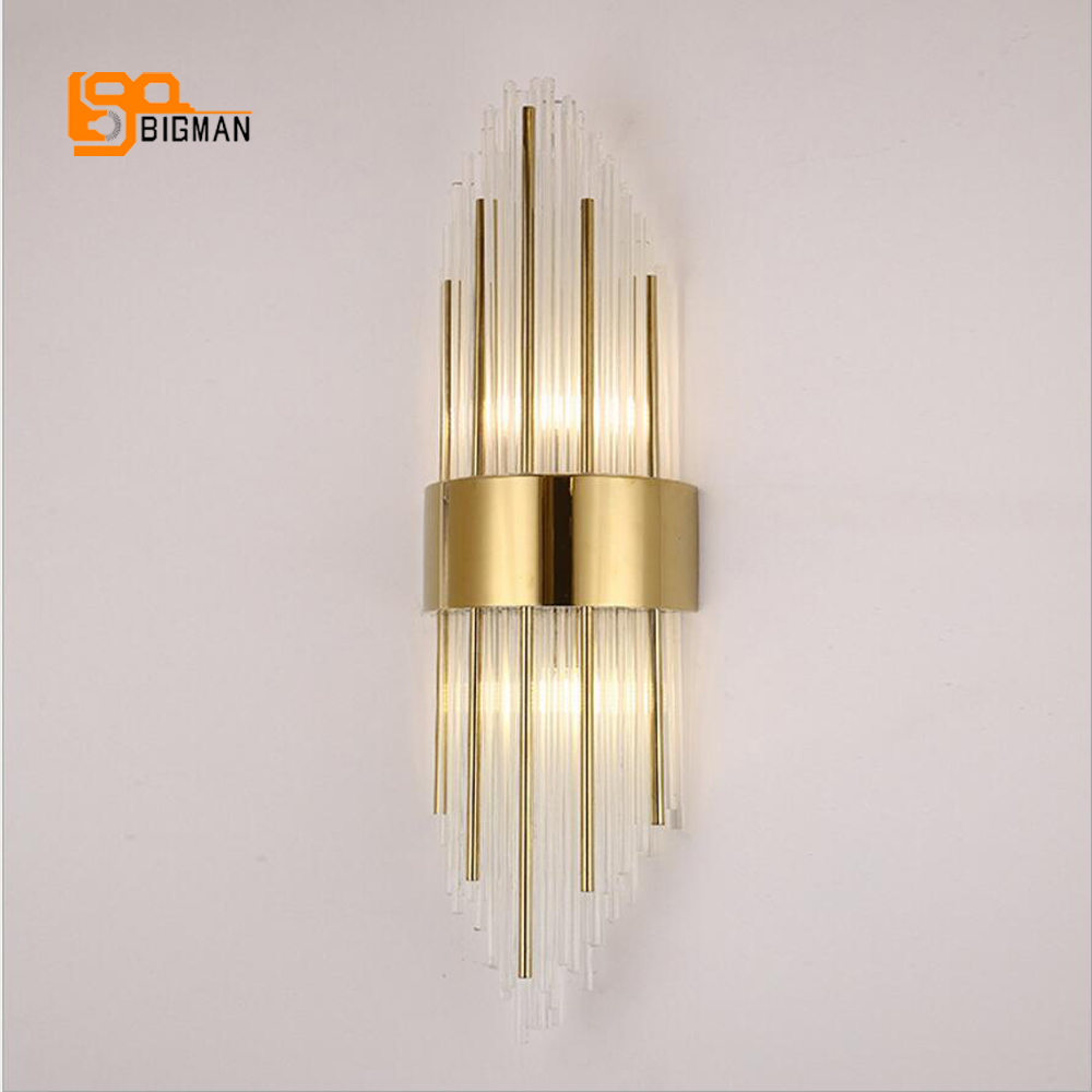 high quality glass wall sconce modern LED wall lights AC110V 220V living room bedroom lamp height 65cm