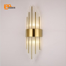 high quality glass wall sconce modern LED wall lights AC110V 220V living room bedroom lamp height 65cm(China)