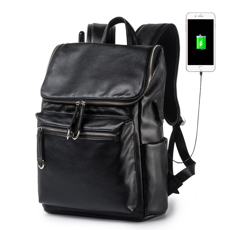 Brand Men PU Leather Backpack Male 14 Inch Laptop Backpack for Men Business Waterproof Back Pack Sac A Dos 20inch 24 inch computer suitcase rolling luggage hardside spinner trolley bag pp material travel box boarding wheels case xl020