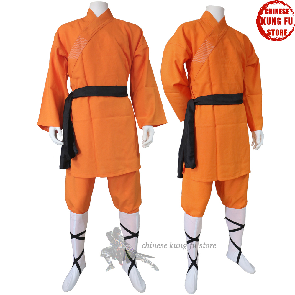 Popular Orange Polyester Shaolin Kung Fu Uniform Wushu Martial Arts Suit Full Size For Kids Adults
