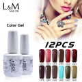 IDO Gelpolish 12 Pcs Sets Kits Uv Gel Soak Off Nail Polish Primer Art Color Vernis Phototherapy Permanent Soak Off 3 Step Gel