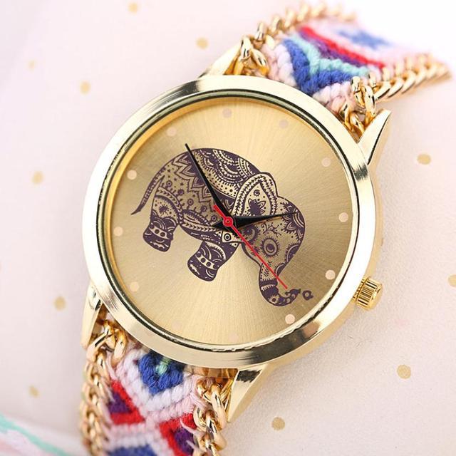 Boho Style Watches Women 2017 fashion Women Clock  Elephant Pattern Weaved Rope Band Bracelet Quartz bracelet Watch