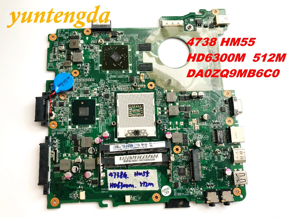 Original For ACER 4738 HM55 Motherboard  HD6300M  512M DA0ZQ9MB6C0    Tested Good Free Shipping Connectors