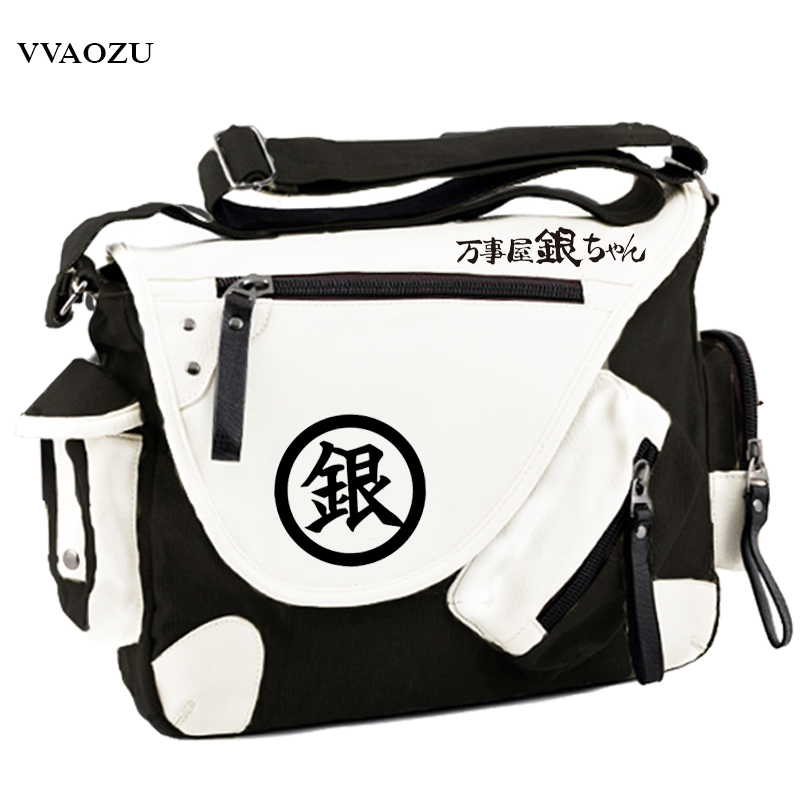 Hot Sale Gin Tama Cosplay Unisex Messenger Bag Silver Soul Gintama Cartoon Large Capacity PU+Canvas Schoolbag Satchels tama tsp6