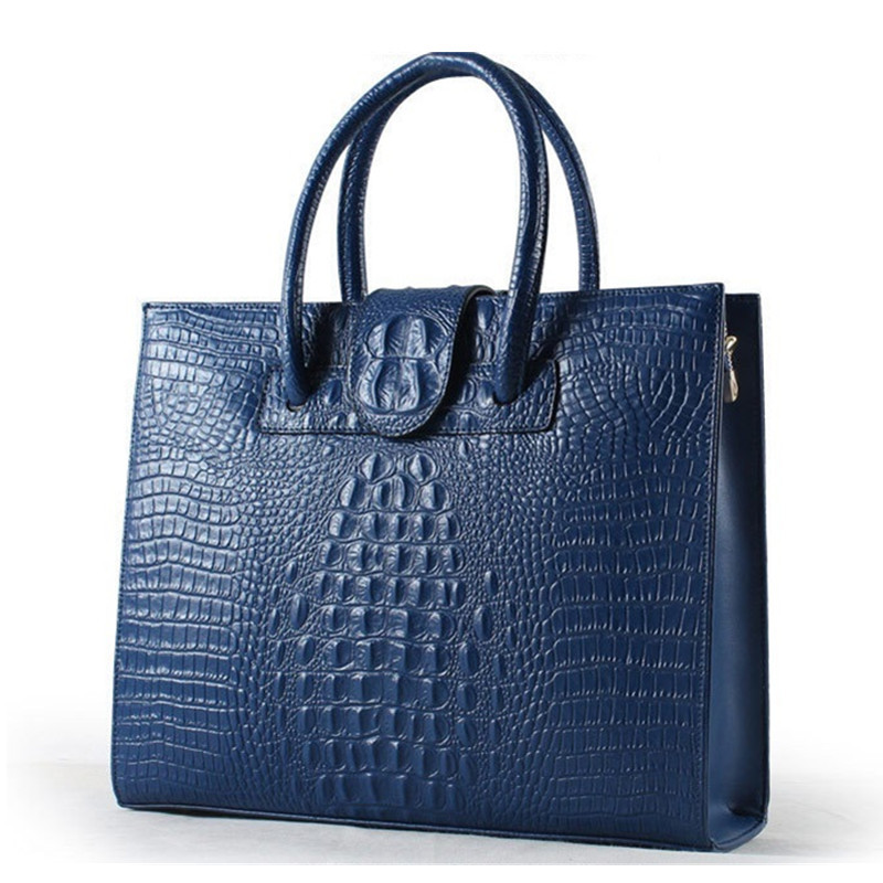 Crocodile Pattern Women Laptop Bag 2017 New Style Fashion Big Shoulder Bag Female Genuine Leather Handbags