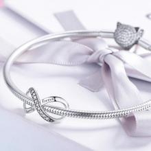 Браслет Pandora,, 925 пробы, серебряный, белый, кубический цирконий, бесконечная форма, бусины для ожерелья, цепочки, изготовление ювелирных изделий