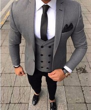 2017 Latest Coat Pant Designs Smoking Grey Men Suit Slim Fit 3 Piece Tuxedo Groom Style Suits Custom Prom Blazer Terno Masculino