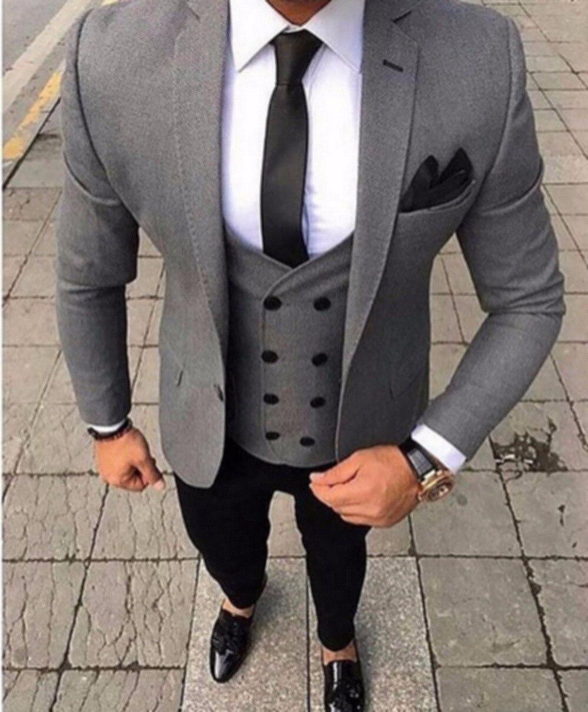 2018 Marca Tailored Fumar Cinza Homens Terno Slim Fit 3 peça Smoking Ternos de Casamento Do Noivo Personalizado Jaqueta Blazer Terno do baile de Finalistas Masculino