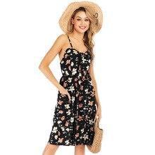 Buy Autumn And Summer 2019 Women Fashion Dresses New Dot Floral Print Suspender Sleeveless High Waist Dress For Girls Beach Dress directly from merchant!