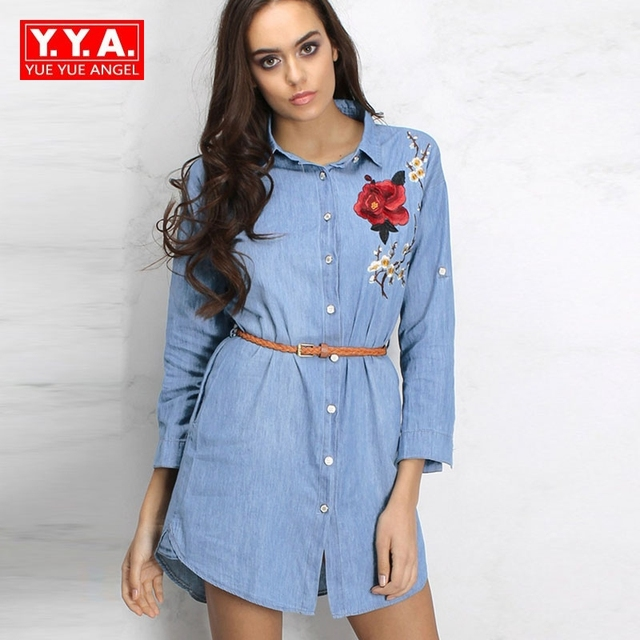 03ba4e9fb477 Luxury High-End Fashion Long-Sleeved Embroidered Casual Shirt Denim Dresses  Woman 2018 New