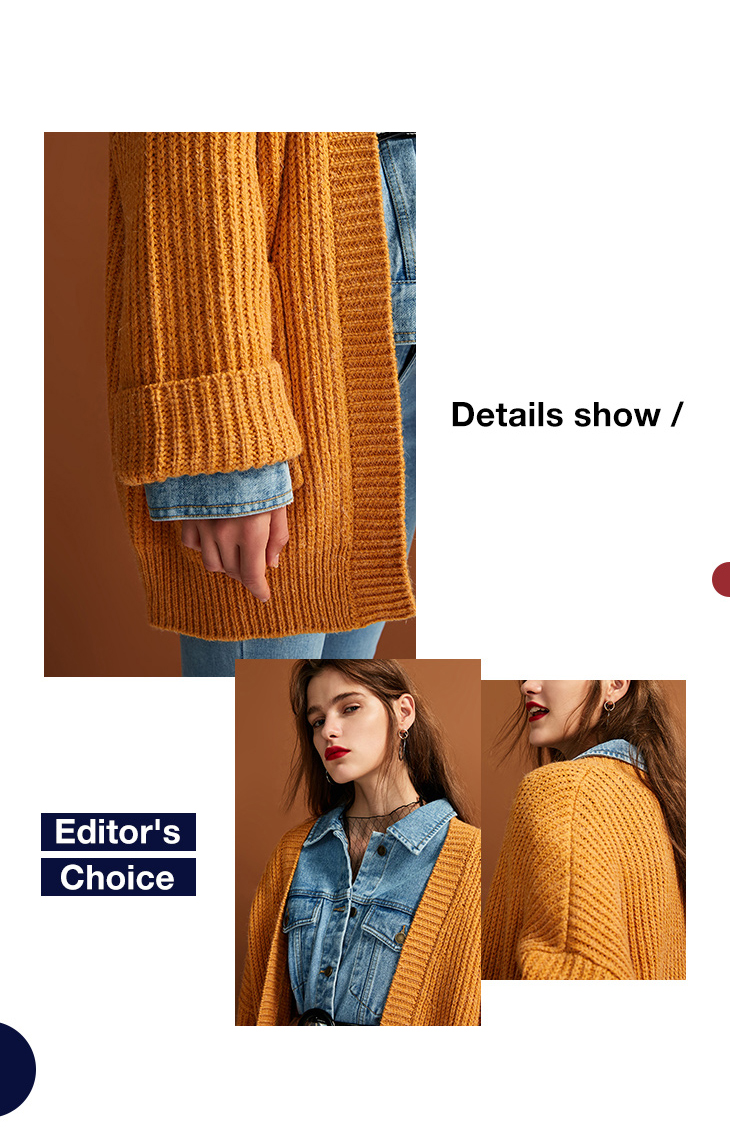 ONLY womens' autumn new cardigan long sweater sweater women Cuff design Cardigan design|11833B504 10