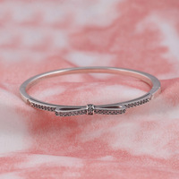 Authentic 925 Sterling Silver Sparkling Bow Clear CZ Bangle Bracelet Bangle For Women Wedding Gift Fit