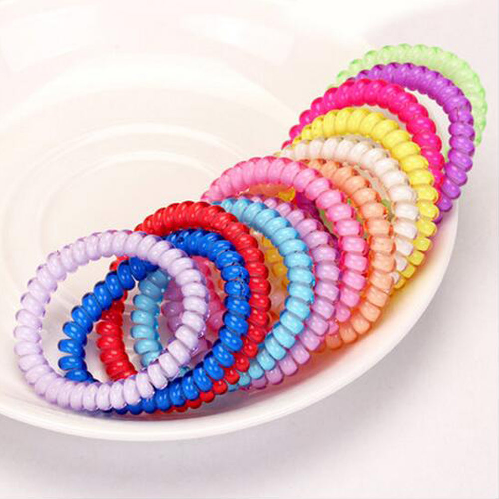 5pcs New Thin Models Candy Color Telephone Coil Hair Band