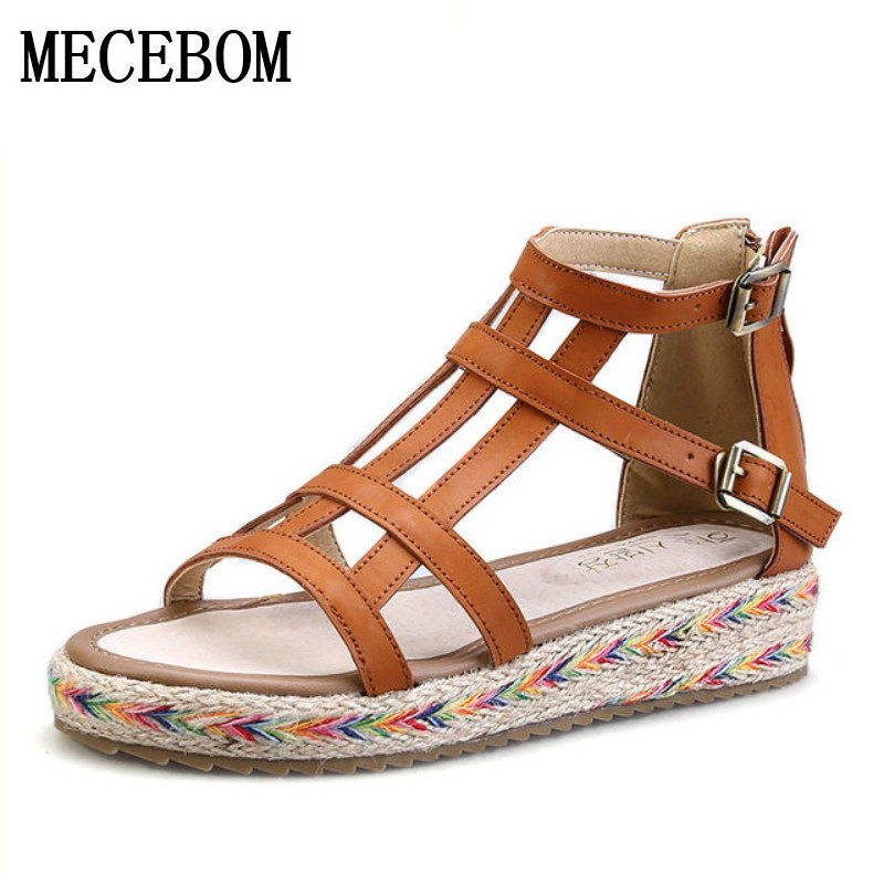 2017 New Women Gladiator Sandals Bohemia Fashion Girls Platform Sandals Casual Summer Shoes Woman Wedges Beach Sandals 7778W wedges gladiator sandals 2017 new summer platform slippers casual bling glitters shoes woman slip on creepers