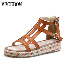 2017 New Women Gladiator Sandals Bohemia Fashion Girls Platform Sandals Casual Summer Shoes Woman Wedges Beach Sandals 7778W