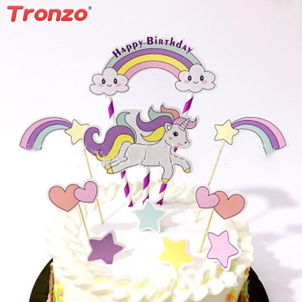 Tronzo Eenhoorn Cake Topper Verjaardagsfeestje Decoratie Kinderen - Feestversiering en feestartikelen