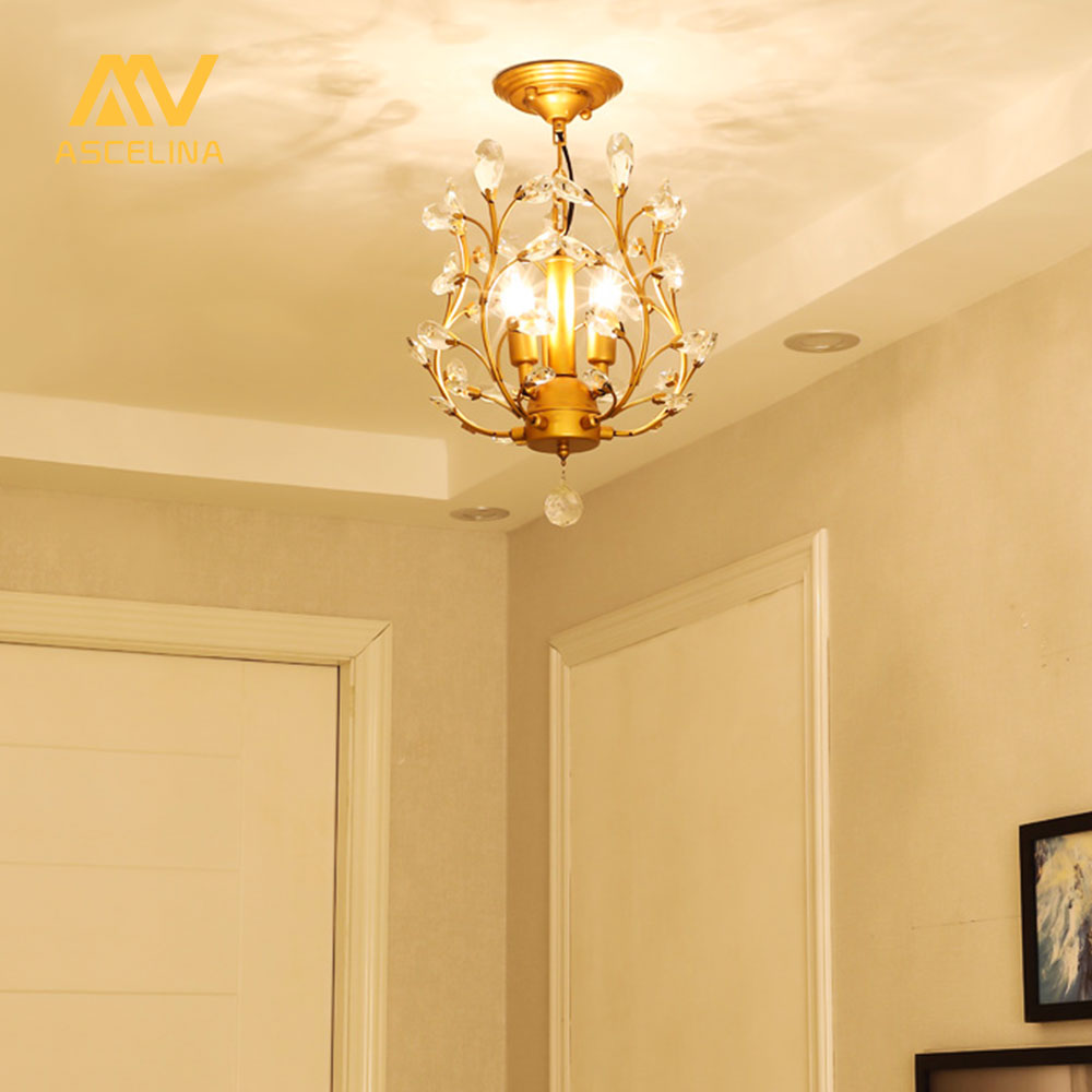 ASCELINA Crystal Light crystal chandelier LED Loft Classical Creative corridor aisle Entrance restaurant Home Decoration Lamp light the mediterranean restaurant in front of the hotel cafe bar small aisle entrance hall creative pendant light df57