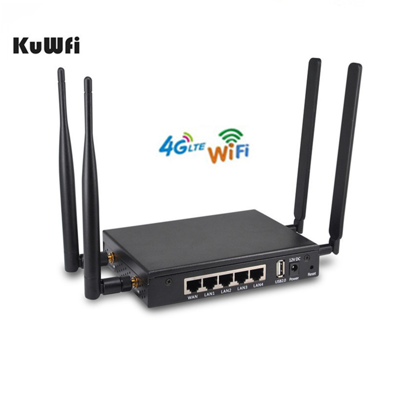 KuWFi 4G LTE Router Wireless OpenWRT 300 Mbps Wireless Wifi Router Con Slot Per Sim Card 4 ps Antenna Esterna forte Segnale Wifi