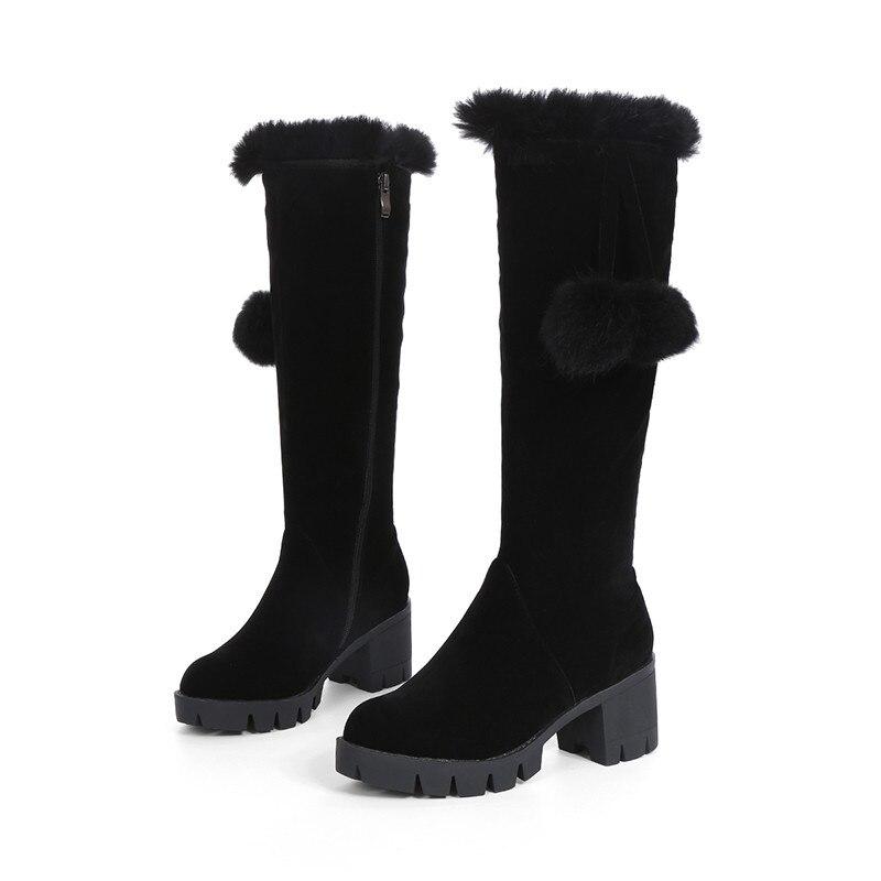 Nueva Cuadrados Mujer negro 43 Mujeres Zapatos Morazora Rodilla Beige Las Invierno Altas Plataforma Zip Otoño 2018 Grande 33 Flock Tamaño De Simple Tacones Botas wqwX4U1