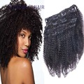 Afroamericano Clip En Extensiones de Cabello Humano 100% de la Virgen Brasileña pelo Afro Rizado Rizado Del Pelo Humano Ins Clip Cabeza Llena 10 Unids