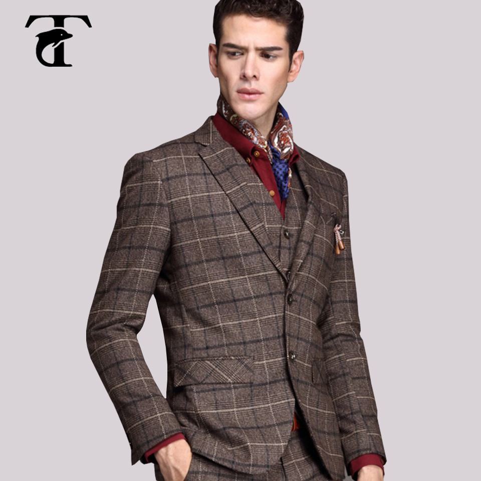 2016 Wool Mens Checked Blazer Men's Suit With Trousers Fabric Slim Fit Style Men Jackets