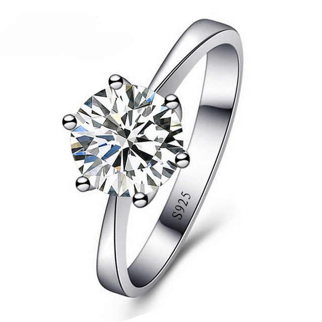 คุณภาพสูงใหม่แฟชั่น 6 กรงเล็บรอบ CZ หิน Sparking 925 เงินสเตอร์ลิงแหวนหญิงสาวของขวัญเทศกาลที่ดีที่สุด