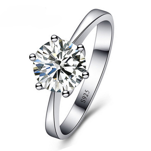 Top Quality New Fashion 6 Claws Setting Round CZ Stone Sparking 925 Sterling Silver Ring Woman Girls Best Festival Gift