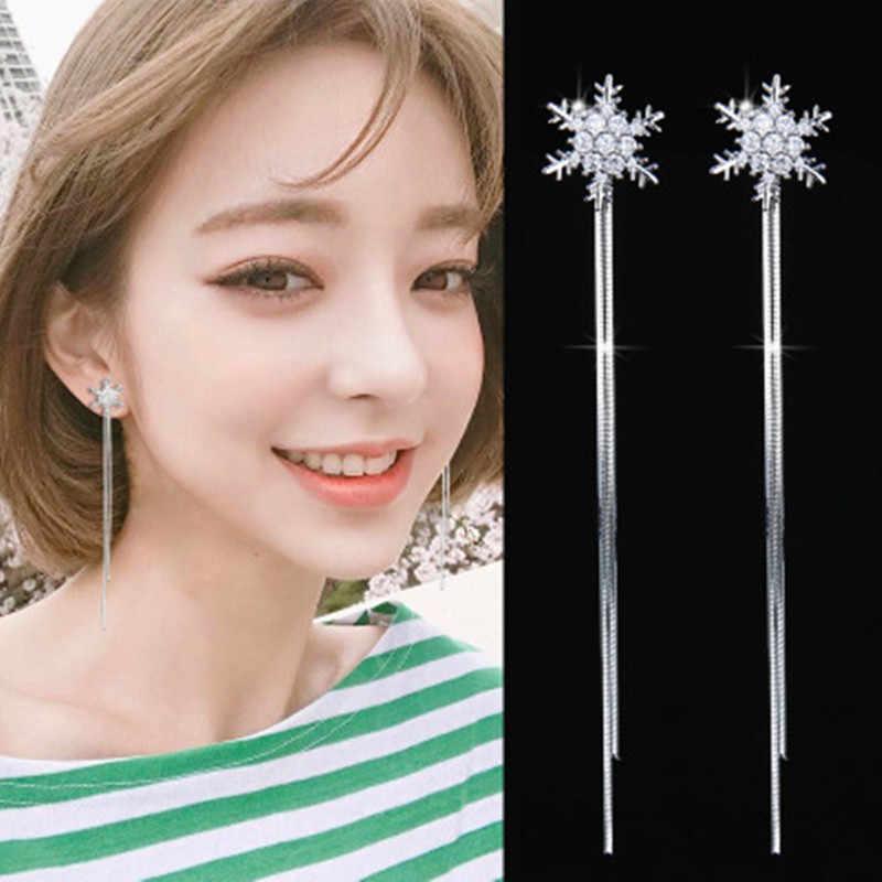 Snowflake Stud Earrings Invisible Ear Clips Temperament Long Ear Ornament Simple