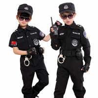 Children Traffic Police Cop Cosplay Costumes Policemen Uniform Girls Pleated Skirt Student Team Halloween Party Performance