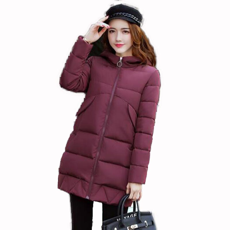 2017 Winter New wome Fashion Long Coat Thickened hooded loose Keep warm Jacket Cotton Padded Zipper Plus Size Outwear QH0297 2015 cotton padded elderly warm thickening long cotton padded jacket mens new single breasted wholesale zipper loose coat d10