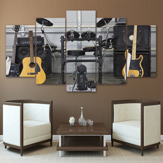 Wonderful Home Decor Canvas Living Room HD Modern 5 Panel Music Instrument Guitar  Printed Pictures Wall Art Modular Poster Painting Frame