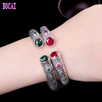 925 sterling silver Indonesian style jewelry Thai silver handmade red corundum bracelet women's bracelet