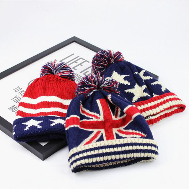 Autumn and winter new wool knit hat M word flag streak thickening warm wool hat       WY