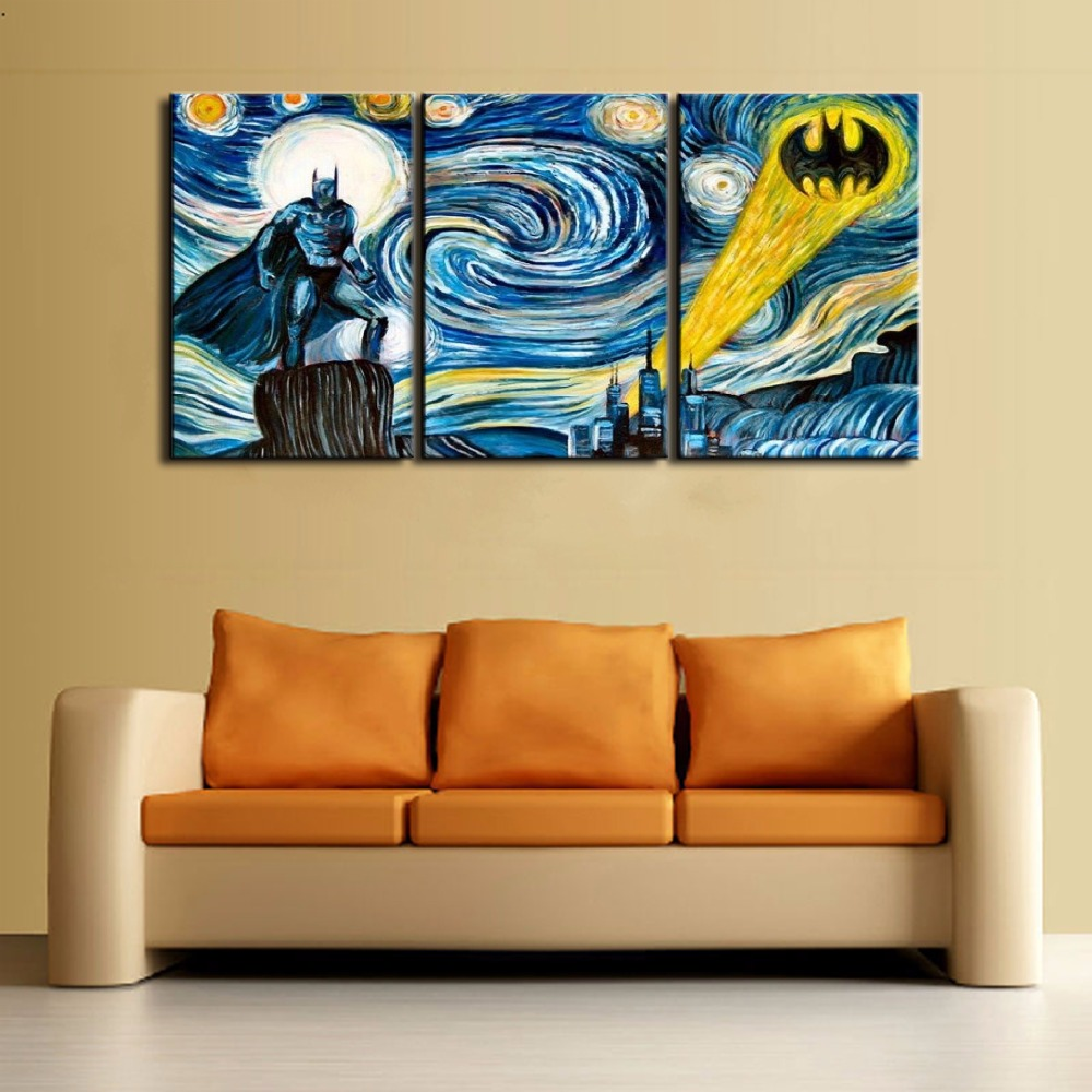 3 Panel Batman Starry Sky Wall Art Picture Modern Home Decoration ...