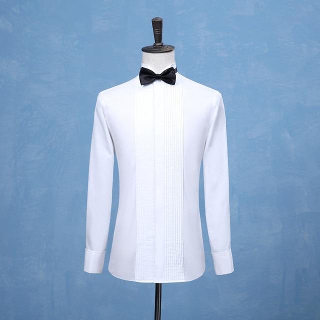 2019 Nova Moda Camisas Melhores Homens Padrinhos Do Noivo Smoking Branco ou Preto Homens Camisas De Casamento Ocasião Formal Dos Homens Ternos Camisa