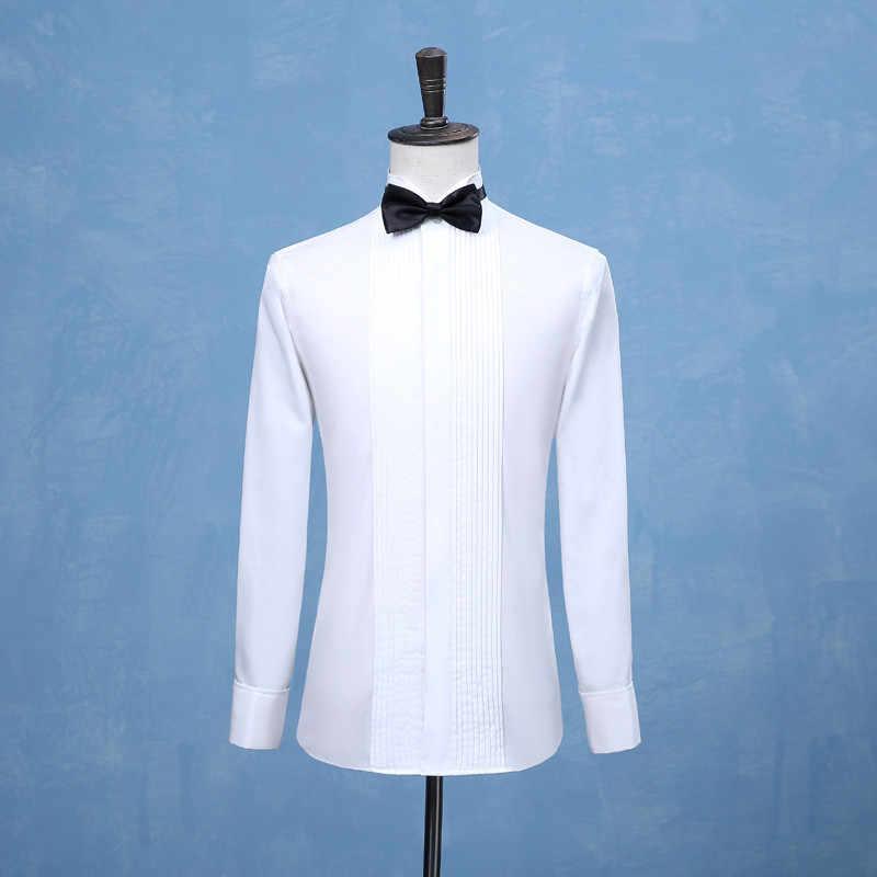 2019 新ファッション新郎タキシード最高男性花婿の付添人白または黒男性の結婚式のシャツフォーマルな日のメンズシャツスーツ
