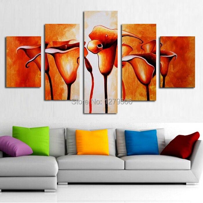 Peinture à l'huile à la main sur toile Art mural décor à la maison pour le salon comme cadeau Unique 5 pièces/ensemble fleur photo décor - 3