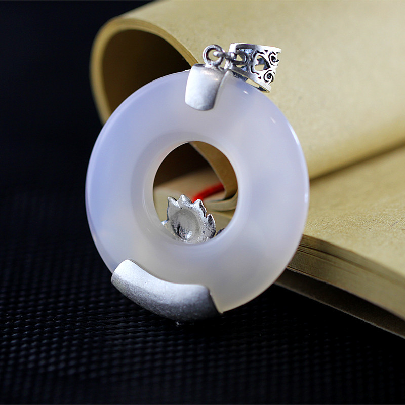 Fine Jewelry Kjjeaxcmy Thailand And The Pure Manual S925 Pure Silver Thai Silver Agate Retro Women Sweater Chain Necklace Pendant High Safety