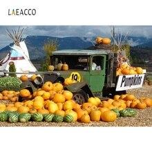 Laeacco Farm Harvest Food Pumpkins Vintage Retro Trolley Truck Portrait Baby Kid Photography Backgrounds Photographic Backdrops
