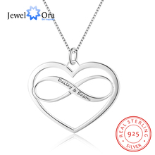 Heart & Infinity Love Personalized Engrave Name Necklace 925 Sterling Silver Best Friend Necklaces Pendants(JewelOra NE102379)