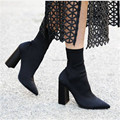 2016 Women Boots Square Heel Stretch Fabric Women Boots Sock Jersey Ankle Boots Black Army Green High Heels Ladies Shoes Woman