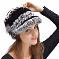 Warm Hat For Women Winter Genuine Rex Rabbit Fur Hat With Fox Fur Flower Female Fur Cap Genuine Fur Casquette