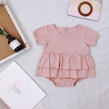 Детская летняя одежда; хлопковый льняной комбинезон для новорожденных девочек; Однотонный Комбинезон для маленьких девочек; Одежда для новорожденных