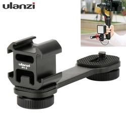 Ulanzi PT-3 Triple Hot Shoe Mount Adapter Microphone Extension Bar for Zhiyun Smooth 4 DJI Osmo Pocket Gimbal Accessories