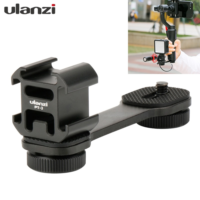 Ulanzi PT-3 Triple Hot Shoe Mount Adapter Microphone Extension Bar for Zhiyun Smooth 4 DJI Osmo mobile 2 Gimbal Accessories