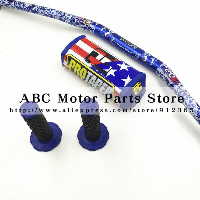 PT PRO Taper Bar pads 1-1/8 Dirt Bike MotorCross Fat Bar MX Aluminum Racing Handlebar Metal Mulisha Pack Handle Grips CRF KLX