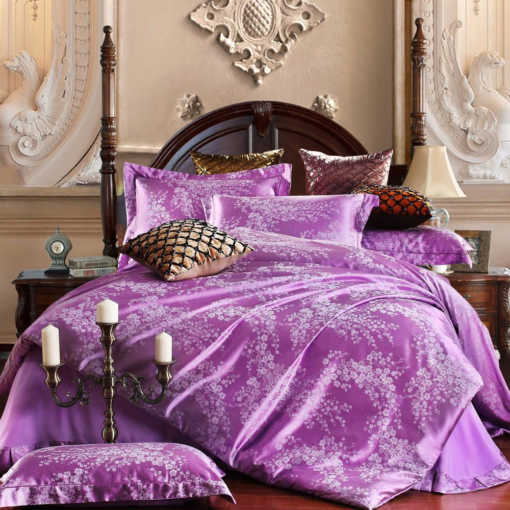 Wedding bed sheet set - Discount New Luxury Tribute Silk Satin Jacquard Bedclothes Bedding Set Wedding Flat Sheet Set Purple