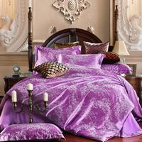 Discount New Luxury Tribute Silk satin Jacquard Bedclothes Bedding set Wedding flat sheet set /Purple